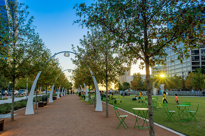 Klyde Warren Park at sunset  Image courtesy of Curtis Simmons Flickr    Klyde Warren Park